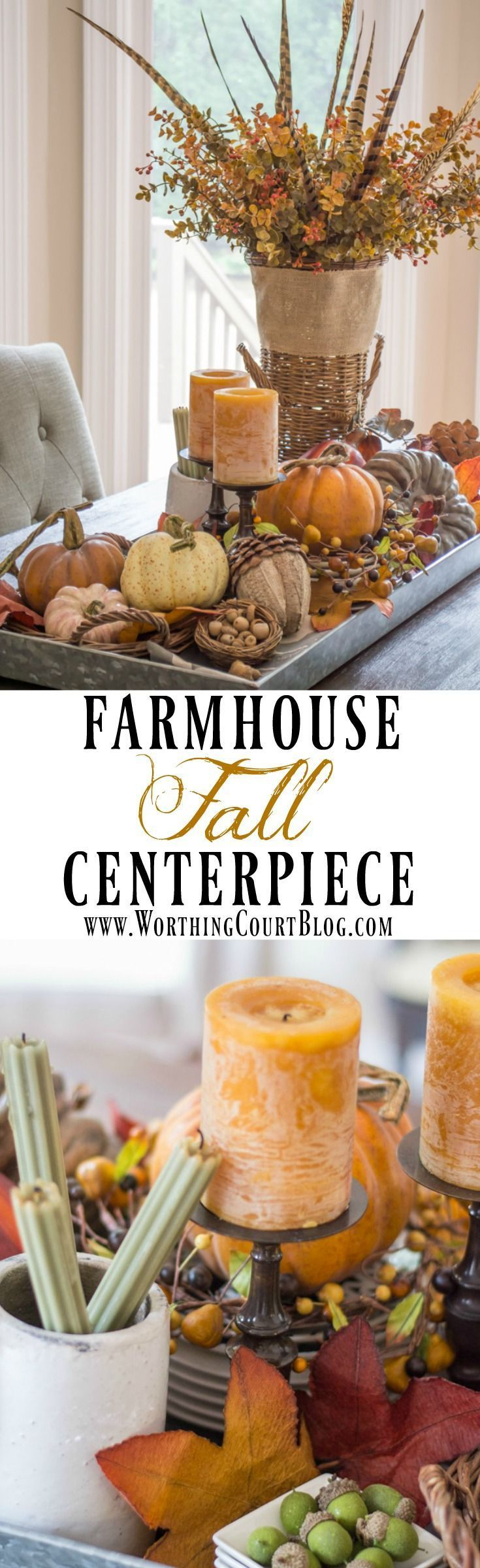 Rustic farmhouse fall centerpiece in a galvanized metal tray brimming with fall…