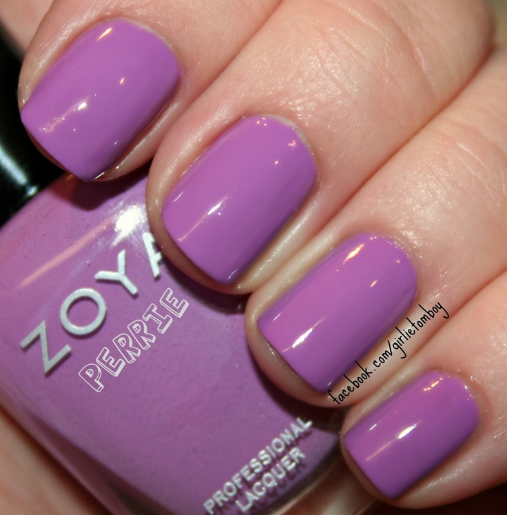 Swatch of Zoya Nail Polish in Perrie via The Girlie Tomboy.  PANTONE 18-3224 Radiant Orchid (Color of the Year, 2014)