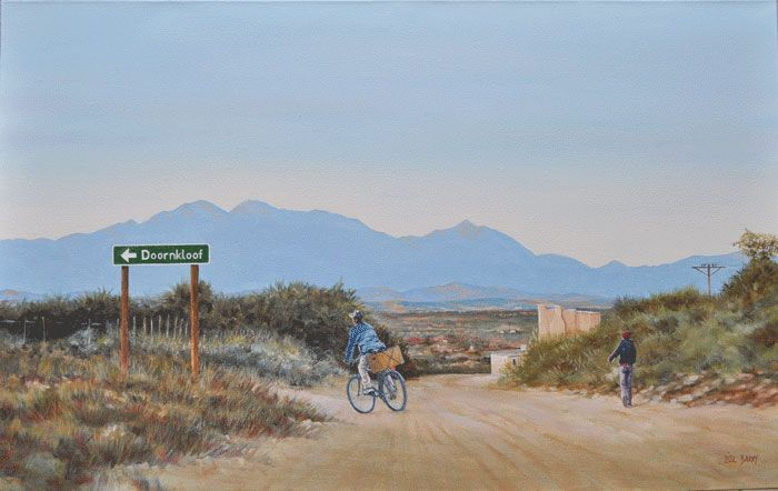 Door 'n Gone    (oil on canvas, 700X1100X25mm) by Lisl Barry   www.lislbarry.co.za  Little Karoo landscape and people