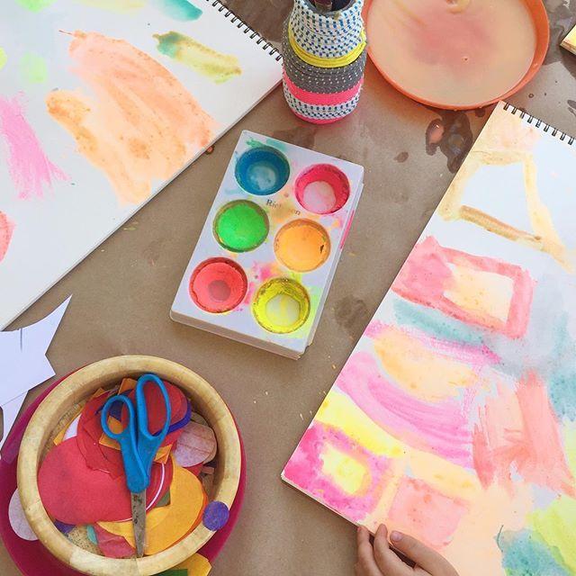 Reggio Inspired Splatter Paint Self Portraits with 3-5 Year Olds - Meri Cherry
