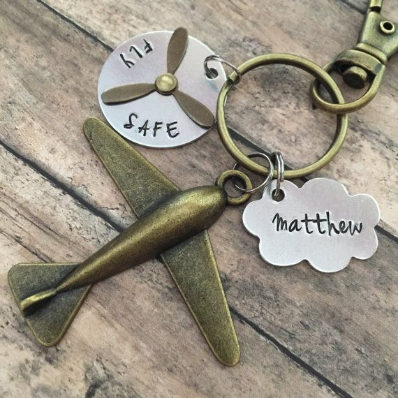 Airplane Keychain Pilot Personalized Hand by designchickcreations