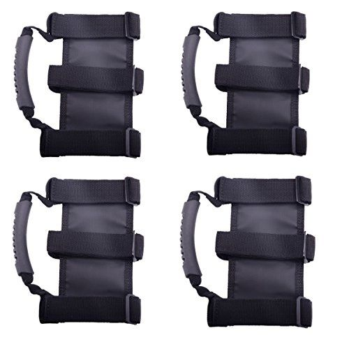 """Jeep Wrangler Roll Bar Grab Handle (Pack of 4):   Specifications:/bbr/Heavy Duty & Good Quality Hook and Loop Straps br/ Color: Black br/ Fitment: all 1987 - 2014 Jeep Wrangler, Unlimited, CJ, YJ, TJ & JK. Possibly other off-road vehicles that have roll bars. e.g. Scout, older Bronco, FJ and any truck with a 2-3"""" roll cagebr/ Installation: Wrap around any stock or after-market roll cage. Makes getting in your truck much easier. br/Item Include: Set of 4 pcs of Black Grab Handles"""