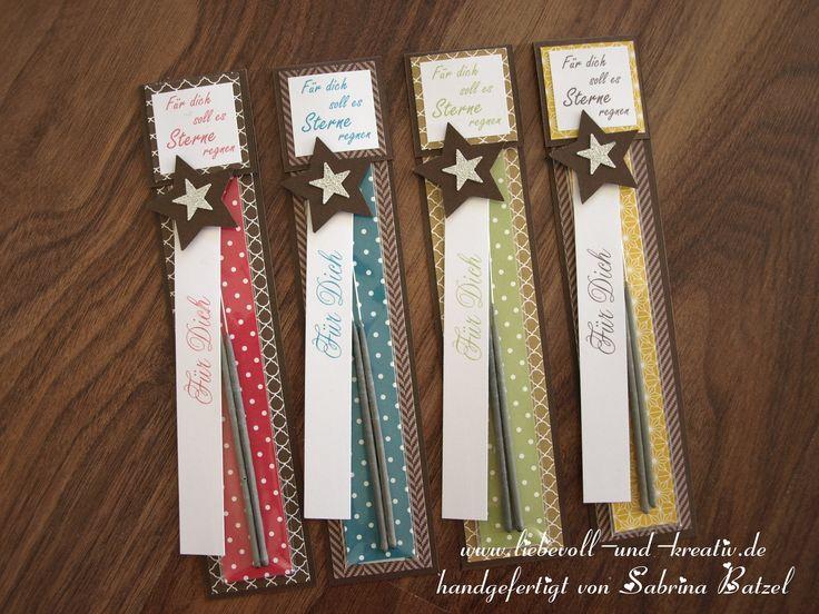 Stampin'Up Verpackung Geschenk Weihnachten Silvester Goody Gastgeschenk Wunderkerzen Sterne