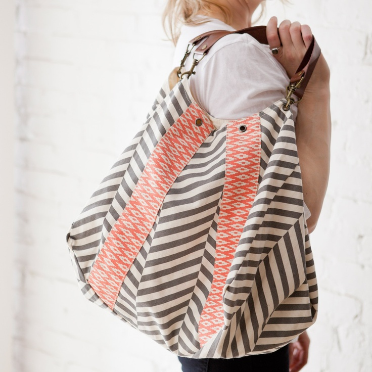 Rosanna Ikat Handbag in Coral/Grey