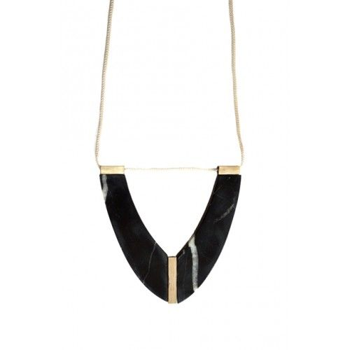 """Vnecklace""  necklace made of black marble from Vitina and sterling silver."