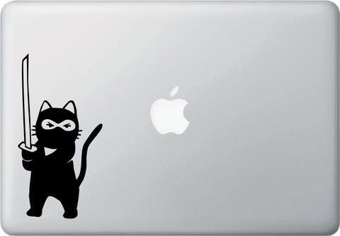 """MB - Cat - Ninja Cat - Sword Standing - D1 - Laptop Vinyl Decal © YYDC (3.25""""w x…"""