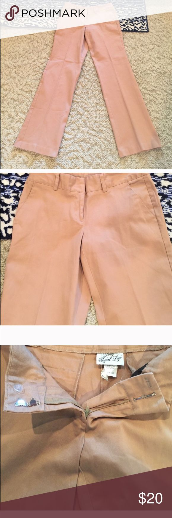 New lel dark tan pants w/ spandex tall 10 comfy New long elegant legs dark tan pants cotton 4% spandex tall 10 inseam is 34 inches waistband is wider with belt loops front and back pockets made in USA Long Elegant Legs Pants Straight Leg