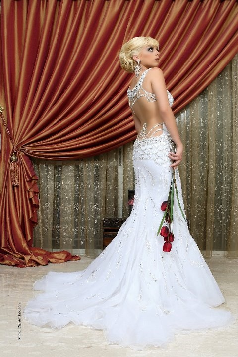 #2013 #wedding #dress Backless jeweled fitted wedding dress with a tulle skirt.