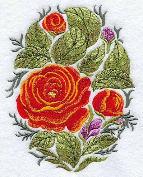 Russian Folk Flowers - Oval