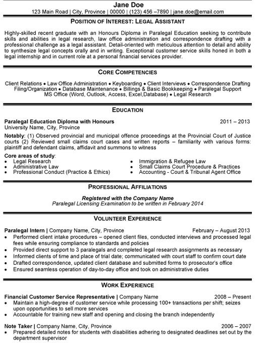 Sample Resumes For Paralegals Assistant Paralegal Resume Sample