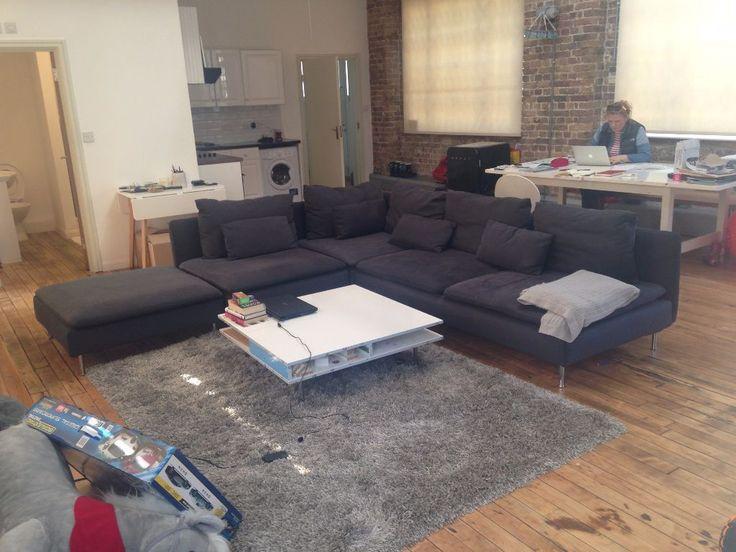s derhamn three seat sofa and chaise longue samsta dark. Black Bedroom Furniture Sets. Home Design Ideas