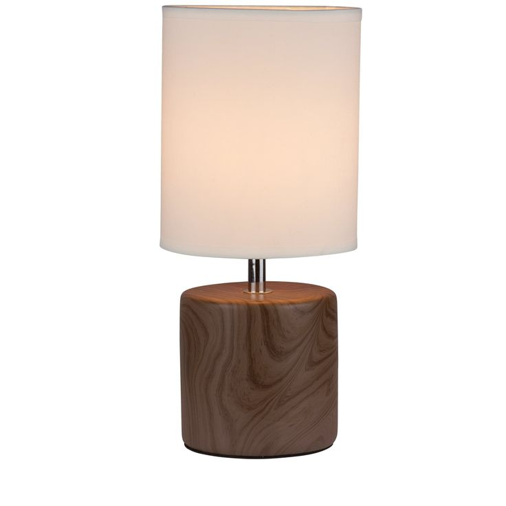 Bedroom Side Table Lamps (Set of 2), Light Wood Finish