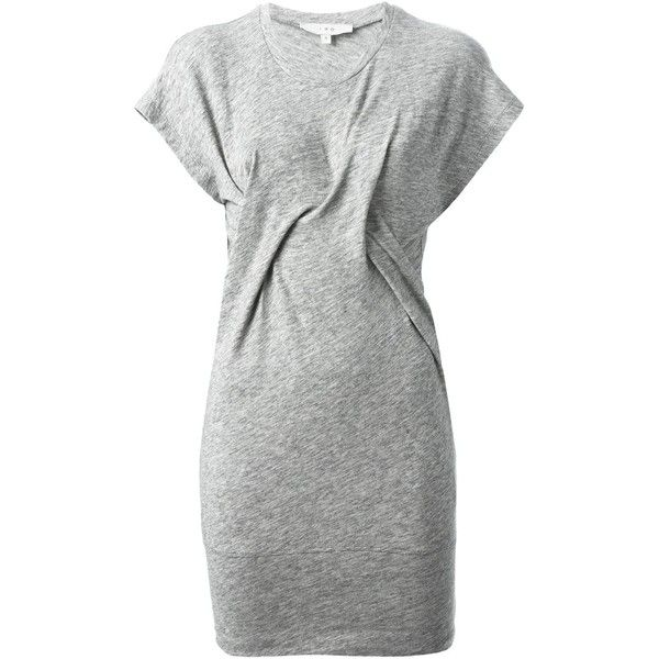 Iro Loretta Fitted Dress ($262) ❤ liked on Polyvore featuring dresses, grey, fitted dresses, grey wrap dress, gray wrap dress, round neck dress and cap sleeve short dress