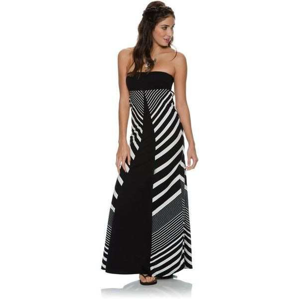 Rip Curl Next In Line Maxi Dress ($49) ❤ liked on Polyvore featuring dresses, black, tube top, strapless tube top, black tube top, black strappy dress and tube top maxi dress