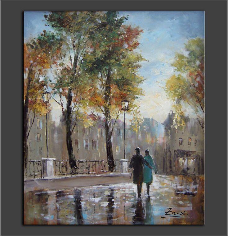lienzo enmarcado hechos originales pintura esptula pinturas al leo leo sobre lienzo cuchillos calle paris