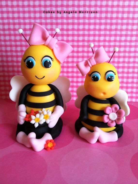 Set of bees cake toppers by CakesbyAngela on Etsy