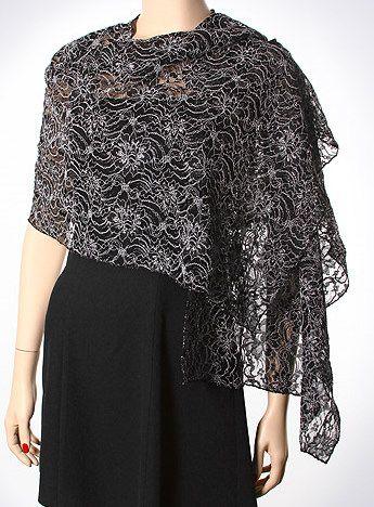 Shiny dressy formal shawls on sale. Lace shawls, embellished shawls & wraps in many seasonal colors.