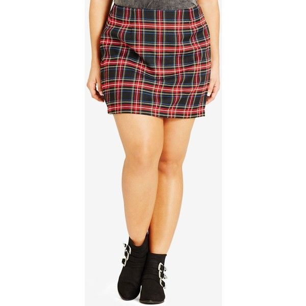 City Chic Plus Size Plaid Mini Skirt (£46) ❤ liked on Polyvore featuring plus size women's fashion, plus size clothing, plus size skirts, plus size mini skirts, black, short mini skirts, plus size plaid mini skirt, plaid miniskirt, plus size mini skirt and tartan skirt