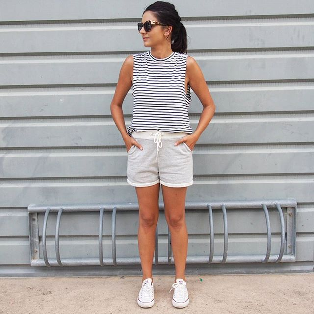 Super comfy and casual for today. Wearing @general_pants Tank - grab 2 for $40 || @surafina Shorts || @converse Sneakers || #ajexbaileynelson Sunglasses