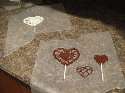 Almost Unschoolers: Copy Cat - Chocolate Valentine Doily Pops