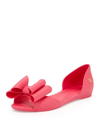 How cute! These bow-topped pink peep toe d'Orsay style flats are the perfect complement to this season's feminine fashion trends. #shoes