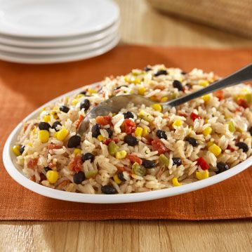 Long grain rice kicked up with zesty tomatoes, corn, peppers and black beans