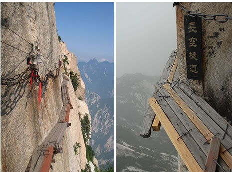 Plank Hike on Mt Hua, China