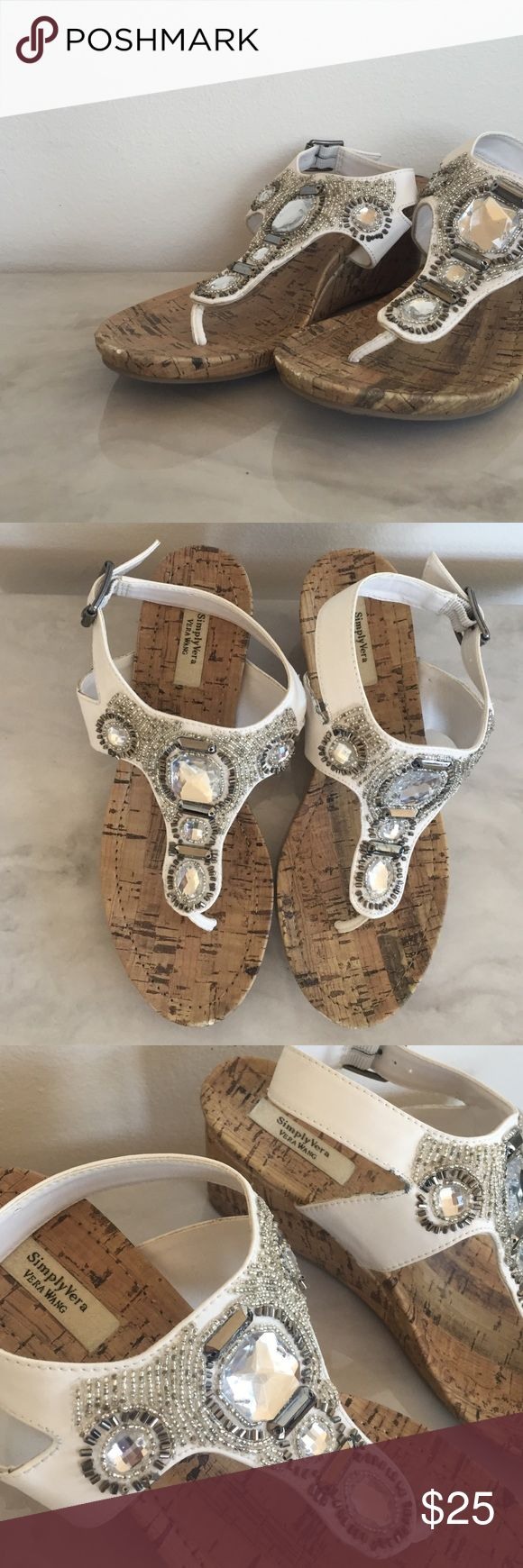 Simply Vera Wang beaded wedge sandals Simply Vera Wang beaded wedge sandals. Worn once. White size 7 Simply Vera Vera Wang Shoes Wedges