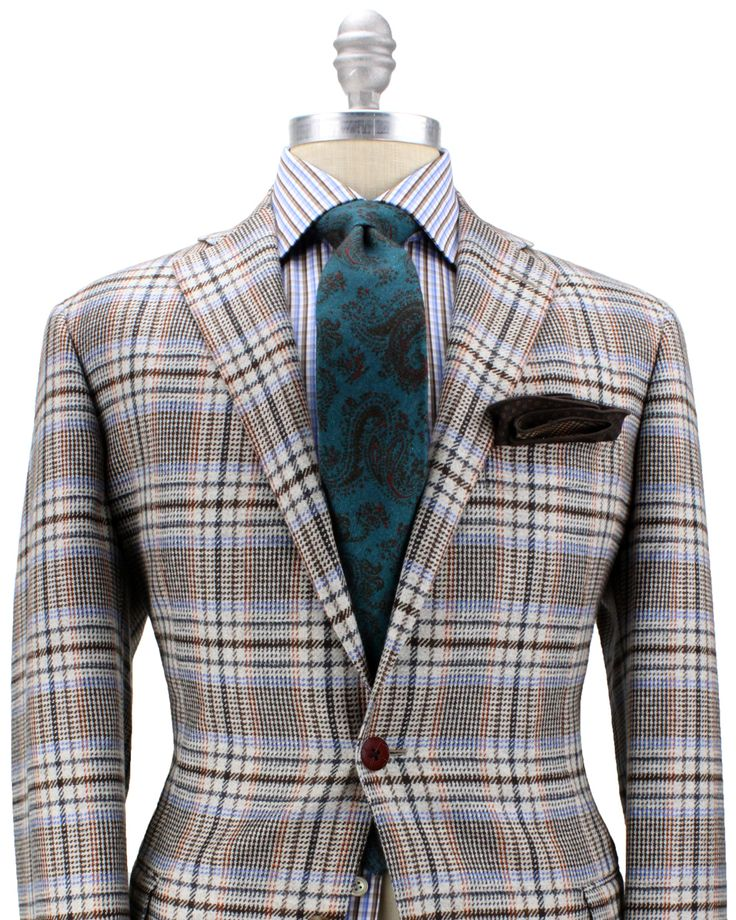 Belvest Cream with Orange, Blue and Brown Plaid Sportcoat