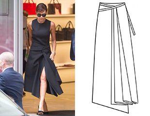 Выкройка асимметричной юбки с запахом