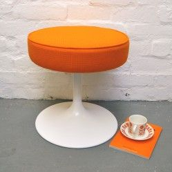 Mid century reupholstered tulip stool vintageactually.co.uk