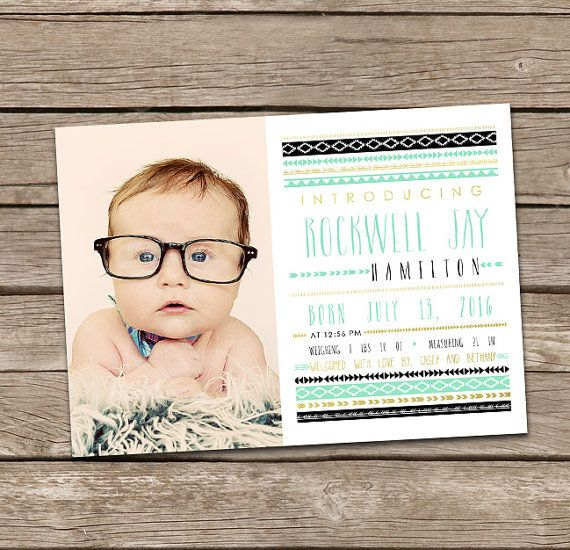 Baby Boy Birth Announcement: Rockwell Printable by deanworks