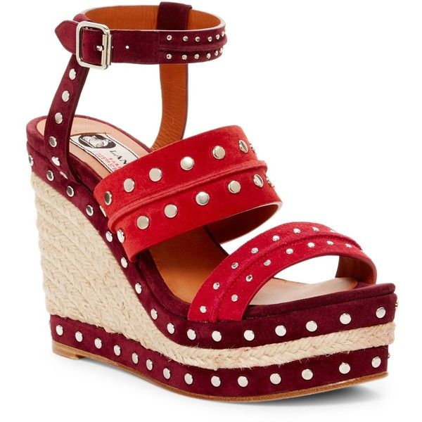Lanvin Shia Studded Platform Wedge Sandal ($540) ❤ liked on Polyvore featuring shoes, sandals, red, platform sandals, suede sandals, open toe sandals, red wedge shoes and espadrille sandals