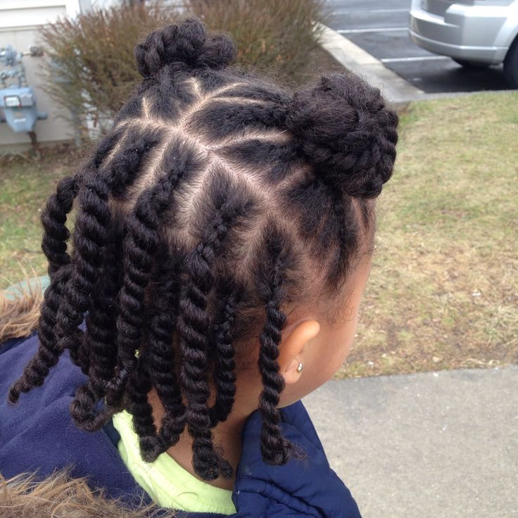 Natural kids hairstyle twists