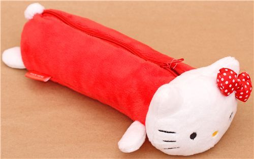 Estuche lápices peluche felpa rojo blanco gata Hello Kitty - Estuches - Papelería - tienda kawaii modesS4u