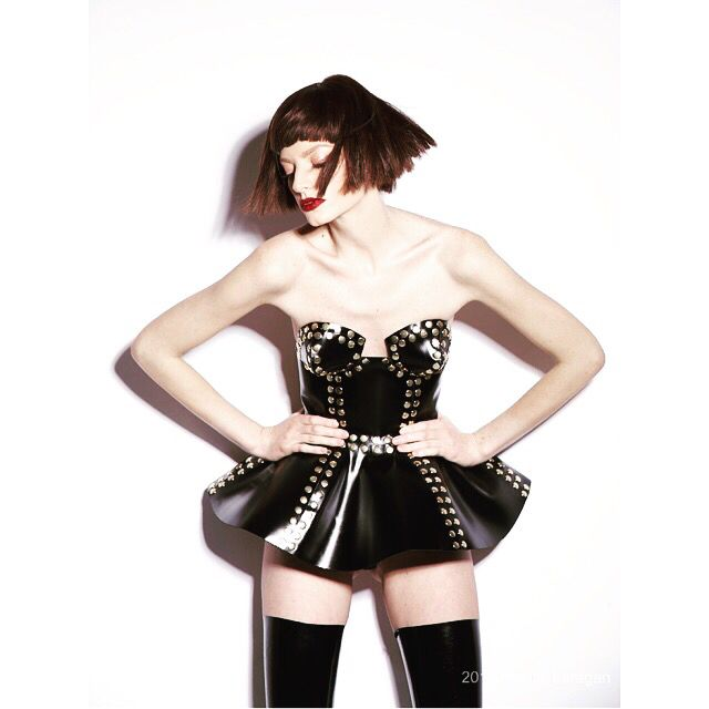 #Manokhi black leather corset with gold studs