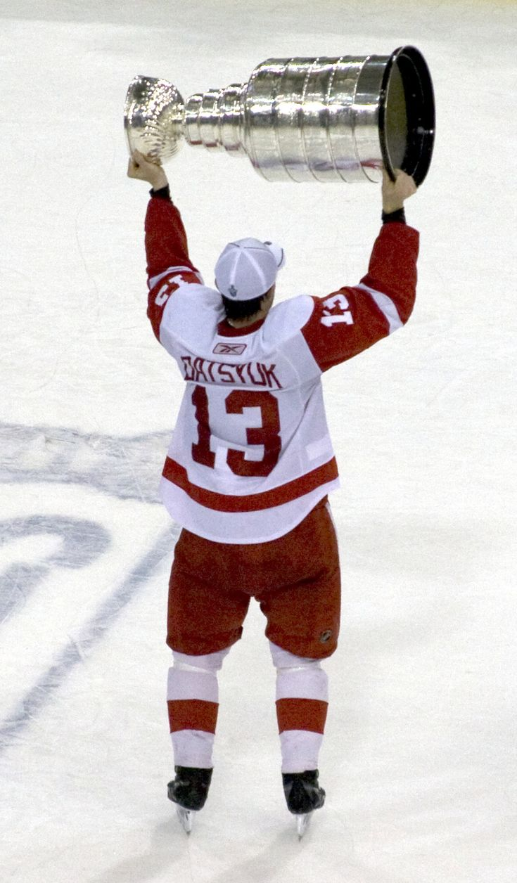 Pavel Datsyuk holding the Stanley Cup in 2008