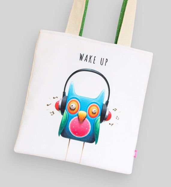 Сotton tote bag Wise owl  by MarLitoys on Etsy