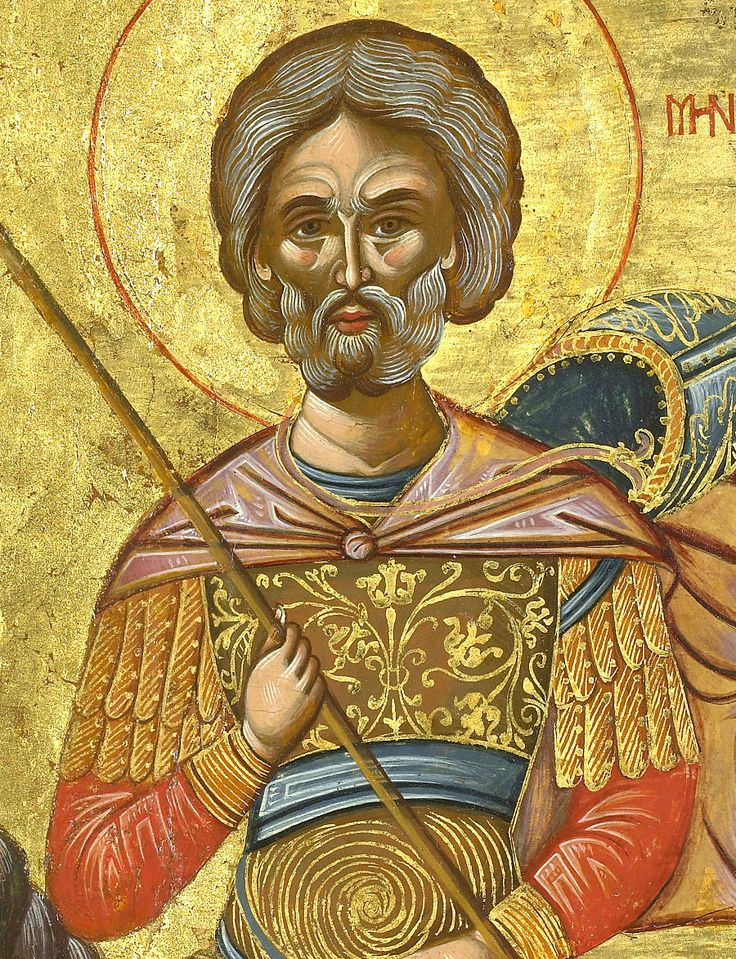 Detailed view: NN018. Saint Menas- exhibited at the Temple Gallery, specialists in Russian icons
