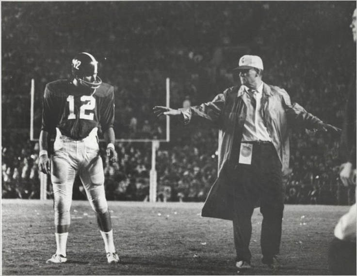 Coach Bryant And Joe Namath In 1965 At The Orange Bowl A Rainy Night