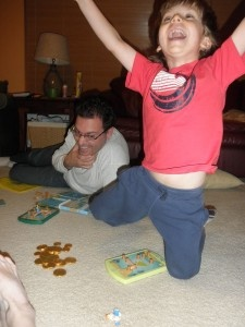 This game-loving family celebrated Hanukkah with a new game each night - a very happy, play-filled holiday!Families Celebrities, Gamelov Families, Holiday Fun, Night, Celebrities Hanukkah, Games Lov Families, Happy Holiday, Thinkfun Games, Families Together