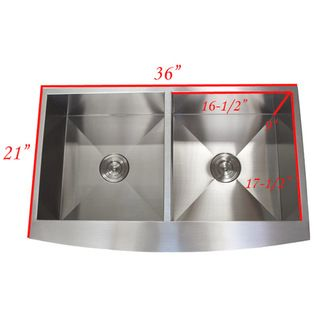 Stainless Steel Farmhouse Double Bowl Curve Apron Kitchen Sink   Overstock.com Shopping - Great Deals on Kitchen Sinks