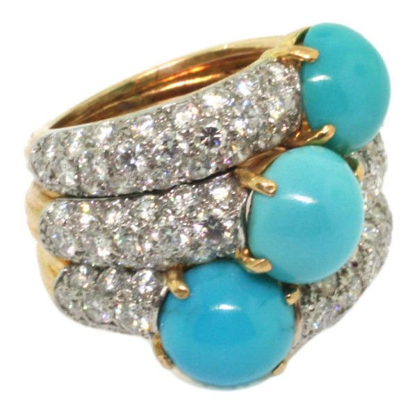 Cartier - CARTIER. A Turquoise and Diamond Ring. - Symbolic & Chase found on Polyvore