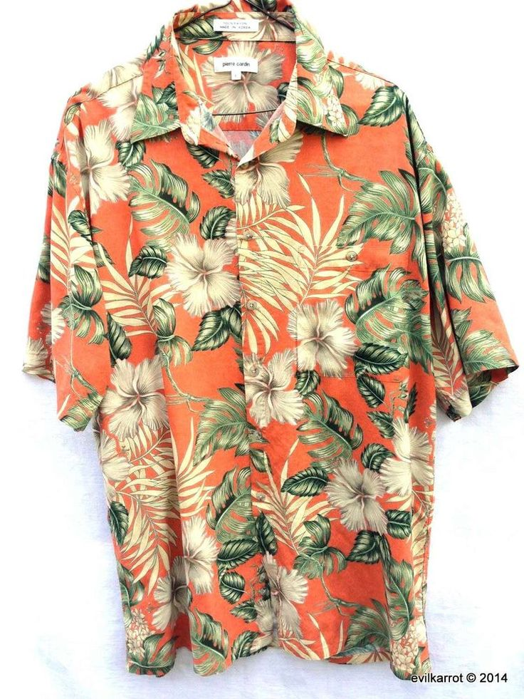Pierre Cardin Men's Hawaiian Aloha Shirt L #PierreCardin #Hawaiian