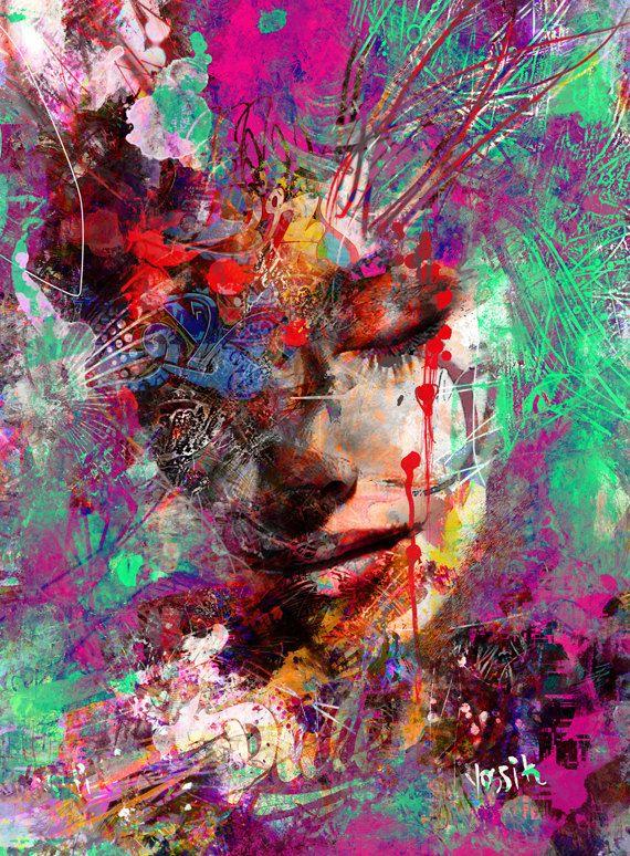 Yossi original-Kunst – Mix aus Emotionen, Porträt. Kunstdruck verschönert nicht gerahmt verschickt werden gerollt in einem sicheren Rohr