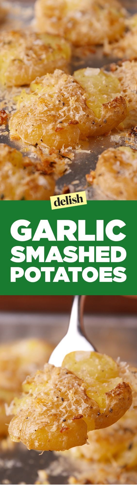Garlic smashed potatoes are the new tater tots. Get the recipe on Delish.com.