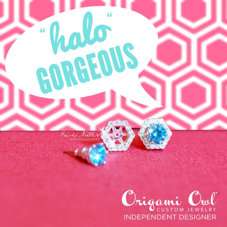 """Origami Owl Pave Hexagon Halos for our O2 studs. You had me at """"halo"""". www.emmamarion.origamiowl.com"""