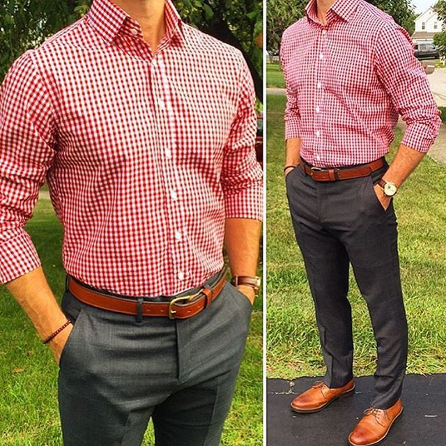 Camisa de cuadros Red gingham button-down collared , dark grey trousers, Honey Brown dress shoes