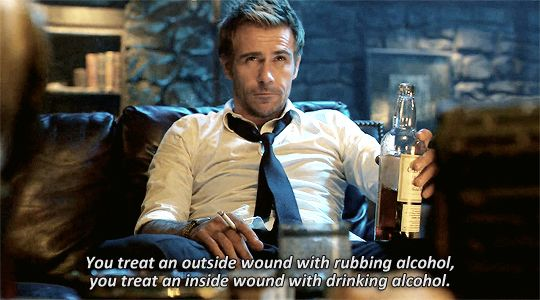 Incorrect Constantine Quotes  • Treat outside wounds with rubbing alcohol and inside wounds with drinking alcohol