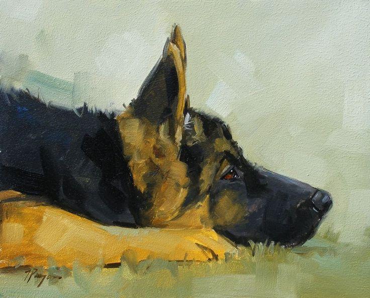 Original Oil painting - portrait of a german shepherd dog  - by j payne
